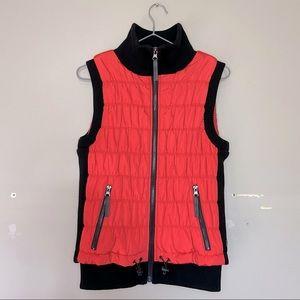 Calvin Klein Performance Women's Zip-Up Vest Bright Coral and Black Vest Size S!